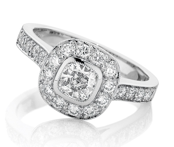 Aura Halo Cushion rubover halo diamond ring