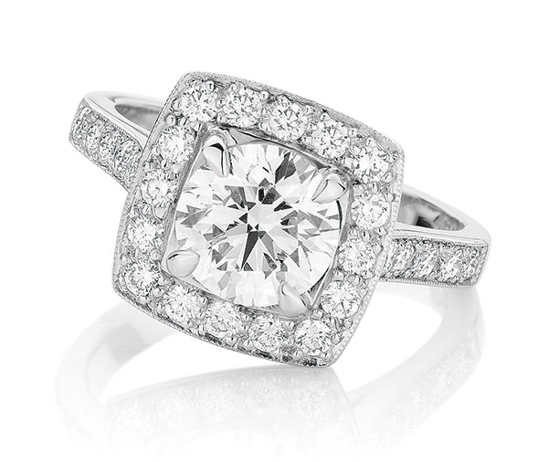Aurora Halo diamond halo engagement ring