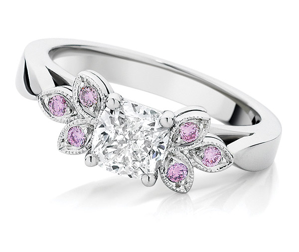 Azalea pink diamond leaf ring