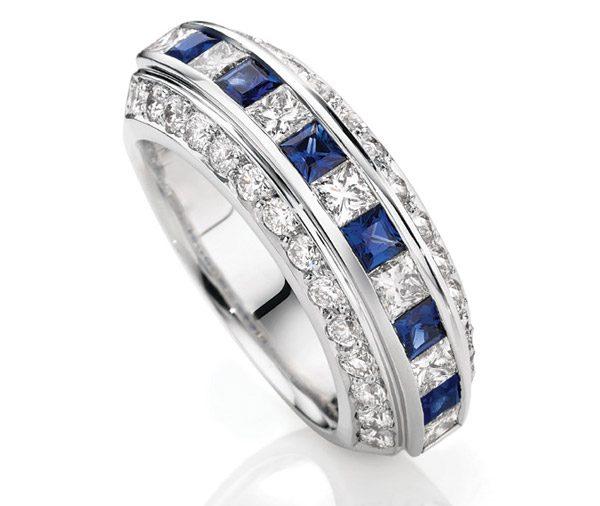 Azul Sapphire & diamond art deco style band