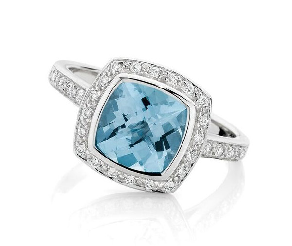 Azure Halo - blue topaz cushion halo engagement ring