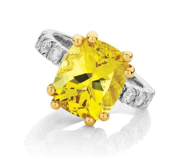 Canary Magic Heliodor and diamond dress ring