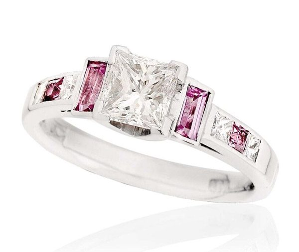 Candy Cane Princess diamond and pink sapphire ring