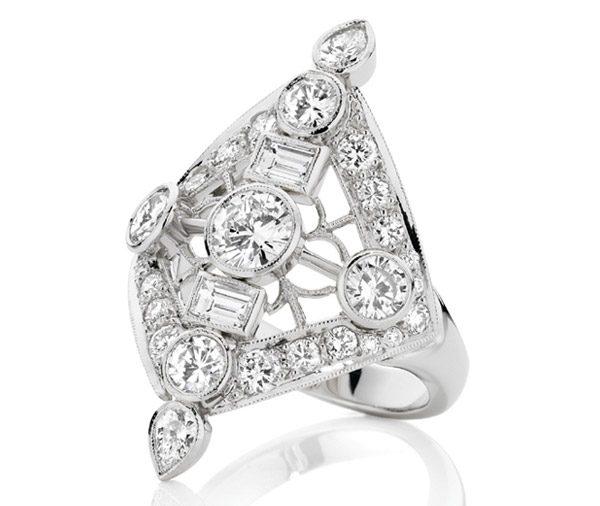 Gatsby Filigree multi diamond dress ring