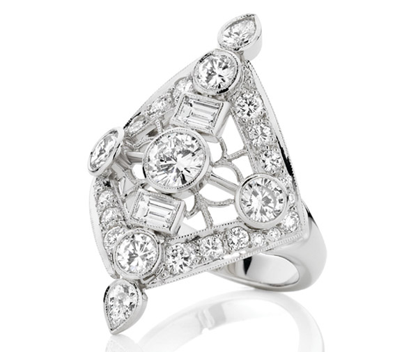 Gatsby Filigree multi diamond dress ring