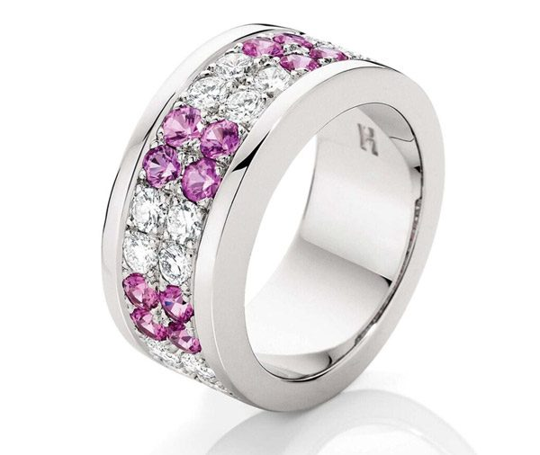 Cherry Blossom - Pink sapphire & diamond pave dress ring