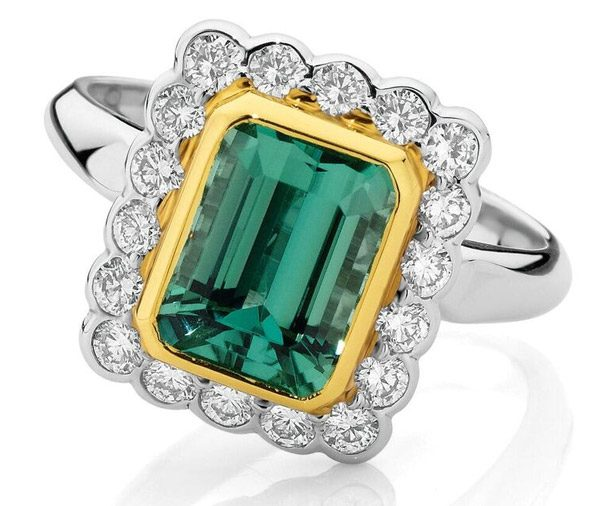 Cleopatra African tourmaline and diamond ring