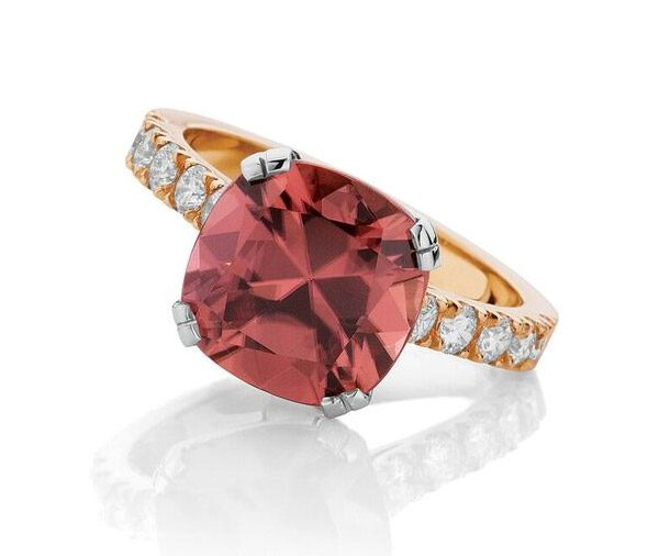 Plum Rose - Rose & White Gold Zircon and diamond ring