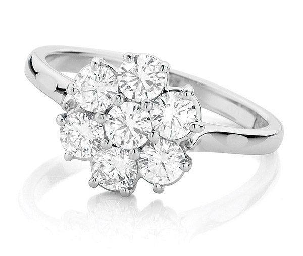 Daisy 7 stone diamond cluster ring