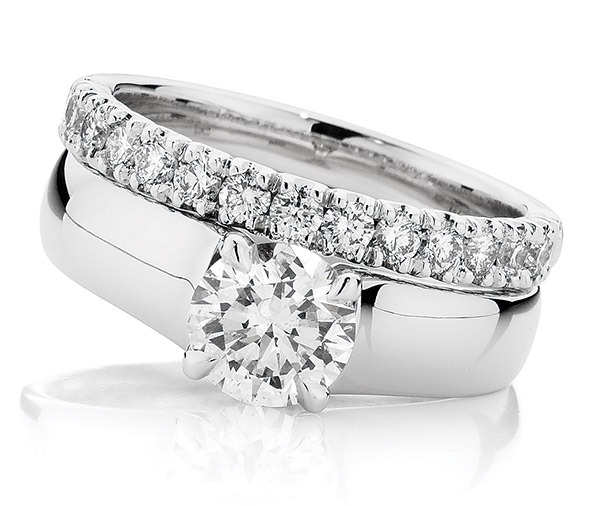 Debonair Solitaire Forever diamond ring set