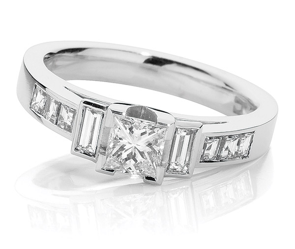 Deco Diamond Princess Cut engagement ring