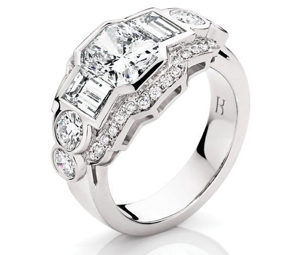 Deco Dream - Multi diamond art deco ring