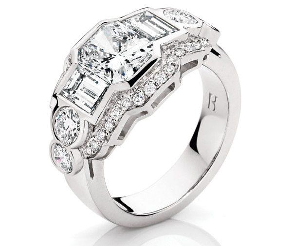 Deco Dream - Multi diamond art deco ring