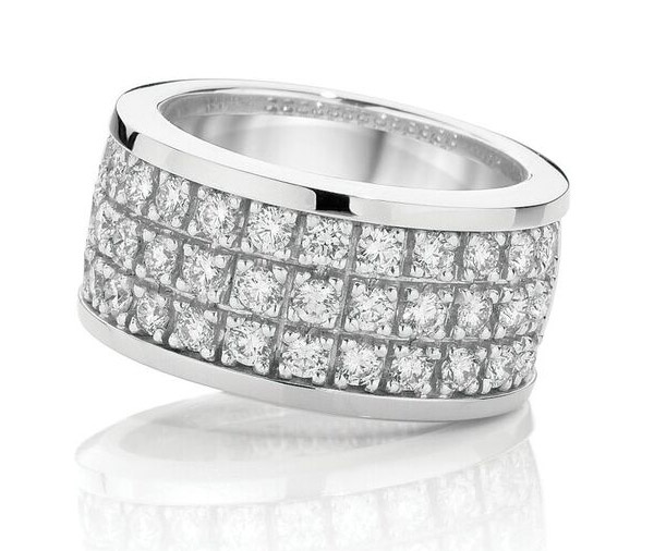 Deuce-Ace Claw set wide diamond band ring