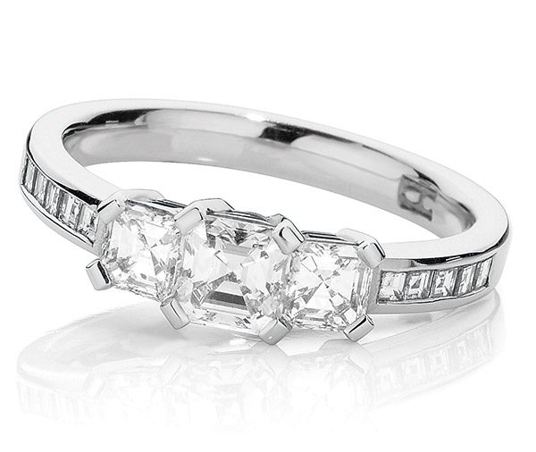 Dutch Asscher white gold cut diamond ring