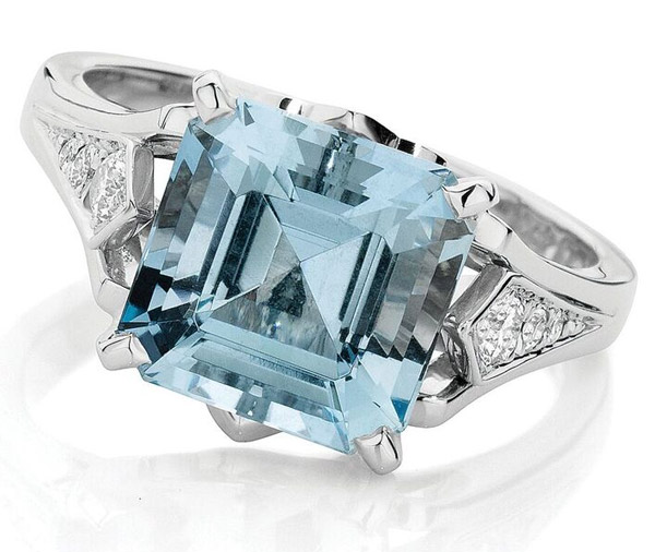 Echo Deco - Vintage aquamarine engagement ring
