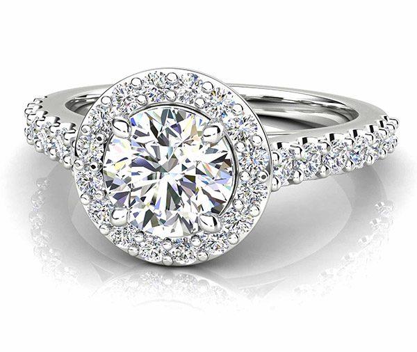 Esme Rose Round bead set diamond halo