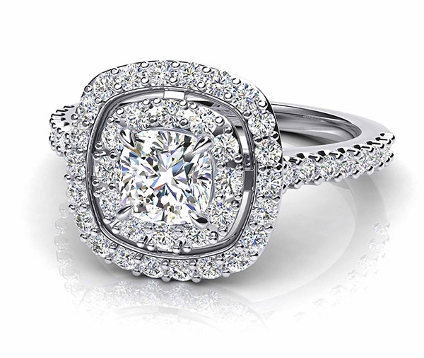 Eva Rose double halo diamond ring