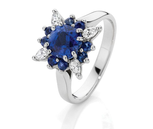 Midnight Star Sapphire & diamond star basket cluster ring