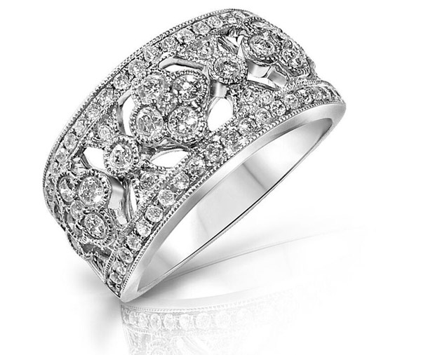 Flora Round diamond floral band style ring