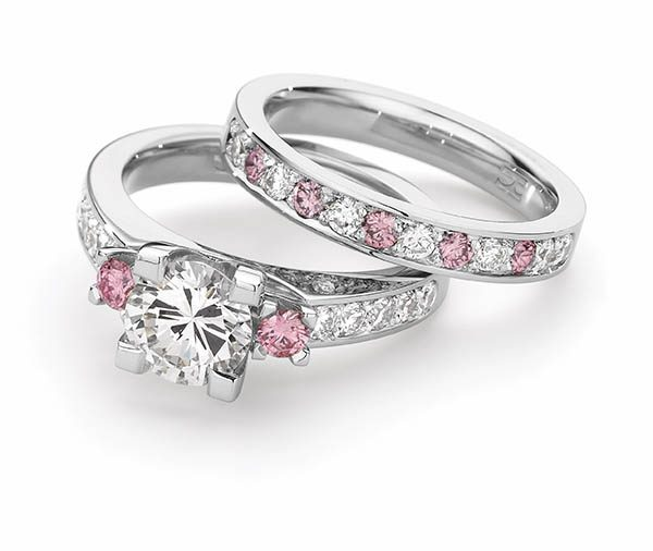 Forever Day Dreams Pink & White Diamond Wedding Ring Set
