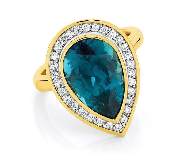 Galaxy Halo - Pear cut tourmaline & diamond halo ring