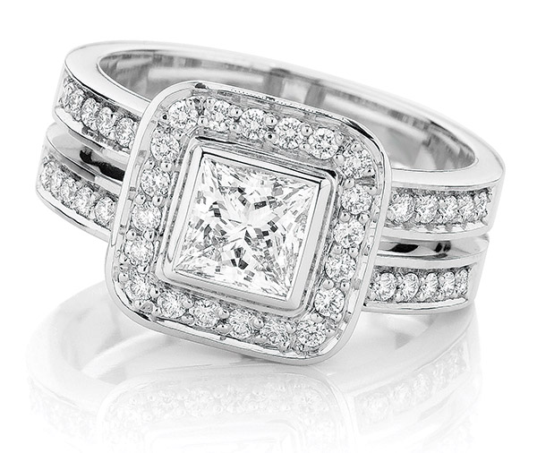 Gloria Halo Princess cut double band ring