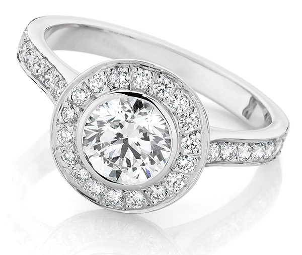 Glory Halo bezel set round brilliant cut diamond ring