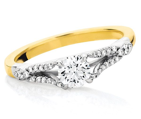 Harmony Gold split band engagement ring