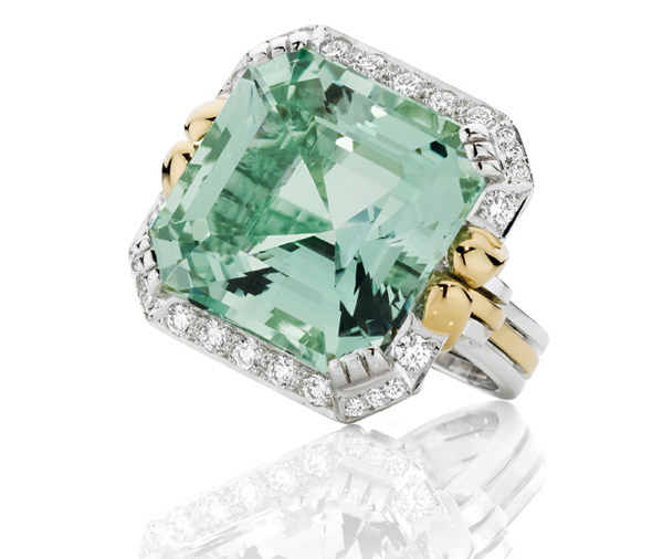 Golden Sea Beryl - Mint green Beryl & diamond statement ring