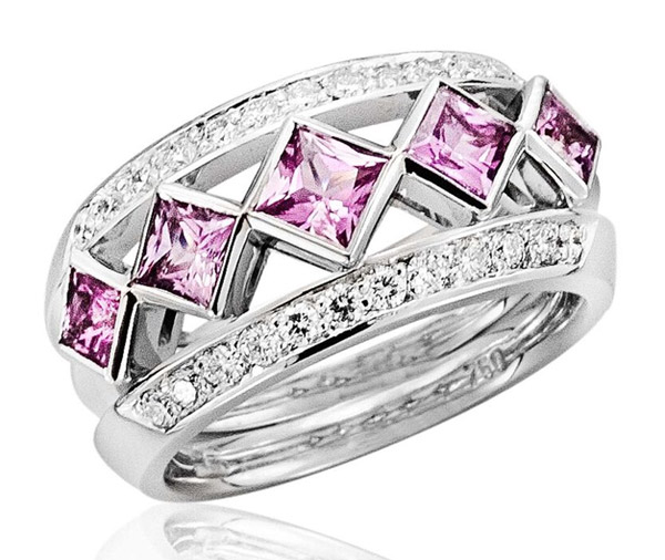 Iconic Pink Princess Five princess cut sapphires ring