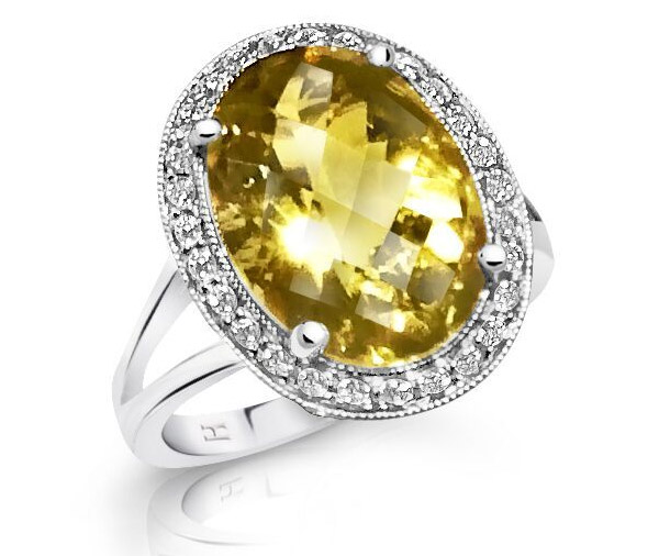 Lemon Sparkle Lemon quartz diamond halo dress ring