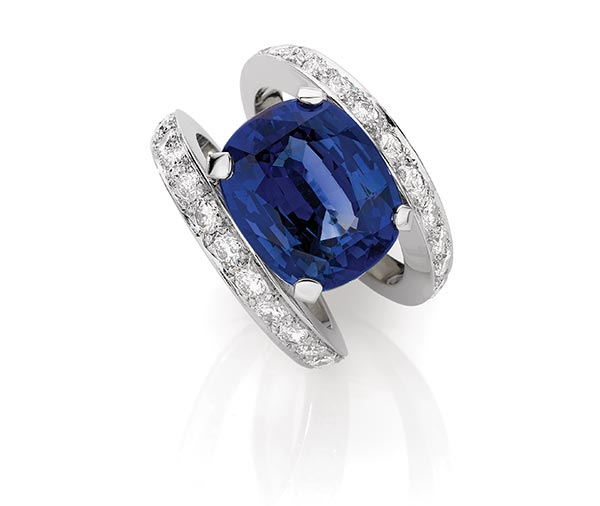 Midnight Moon: Ceylon Sapphire & Diamond Dress Ring