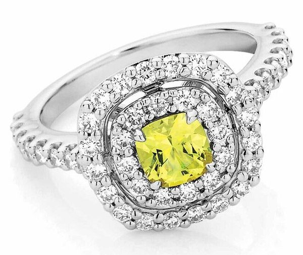 Morning Glory - Yellow sapphire double diamond halo