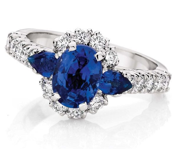 Oxford Falls - Sapphire three stone halo ring