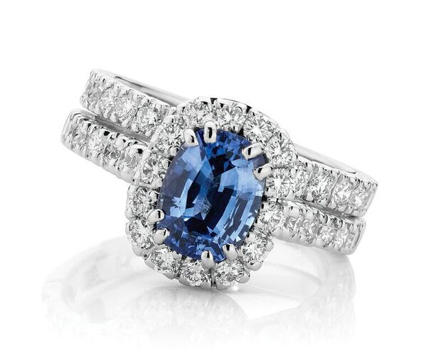Oxford Halo Forever - Oval sapphire & diamond halo set