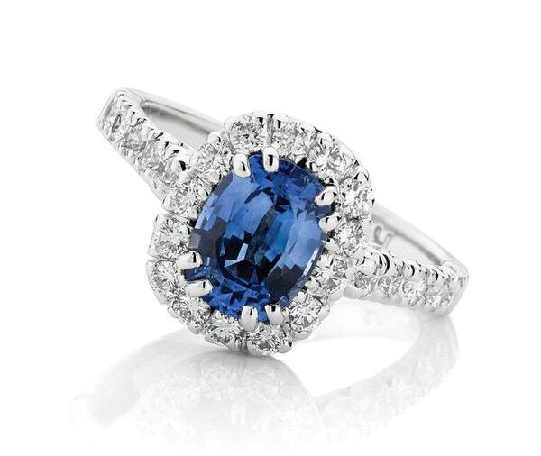 Oxford Halo - Oval sapphire & diamond halo ring