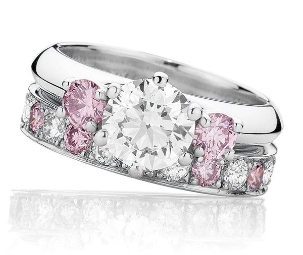 Pink Dreams Forever Three stone ring