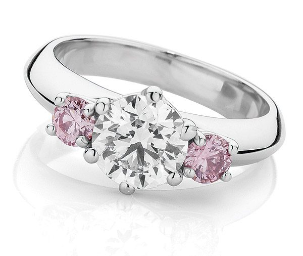 Pink Dreams diamond three stone ring