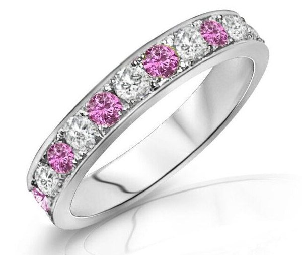 Pink Poppy pink sapphire and diamond grain set band