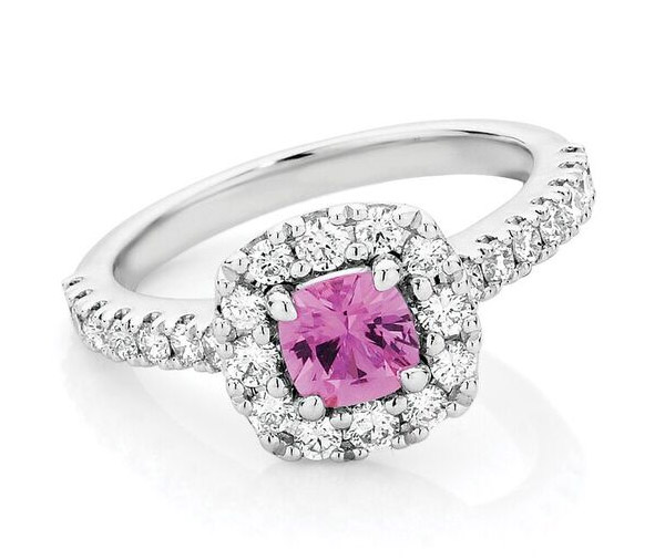 Pink Randiance Halo - Pink sapphire halo ring