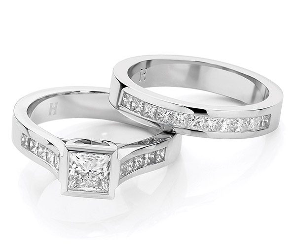 Princess Power Forever bezel diamond ring set
