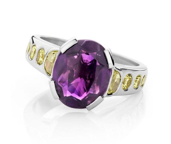 Purple Moon amethyst & yellow diamond ring