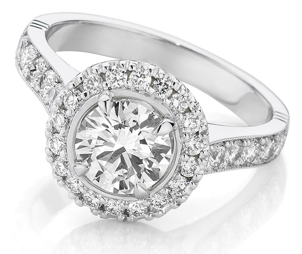 Radiance Cluster diamond halo engagement ring