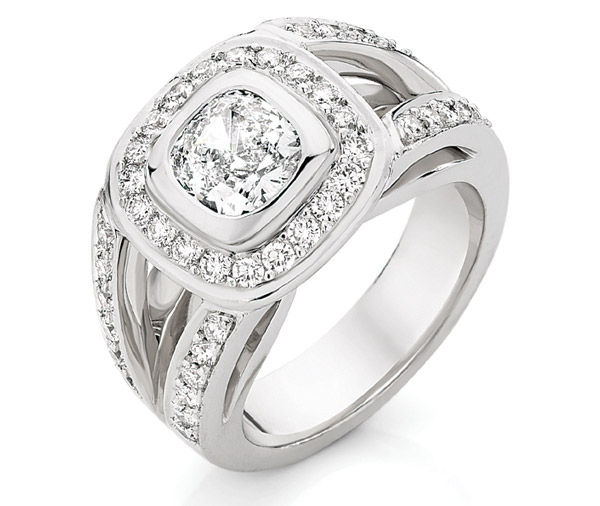 Rhondda - Cushion cut wide band cluster ring