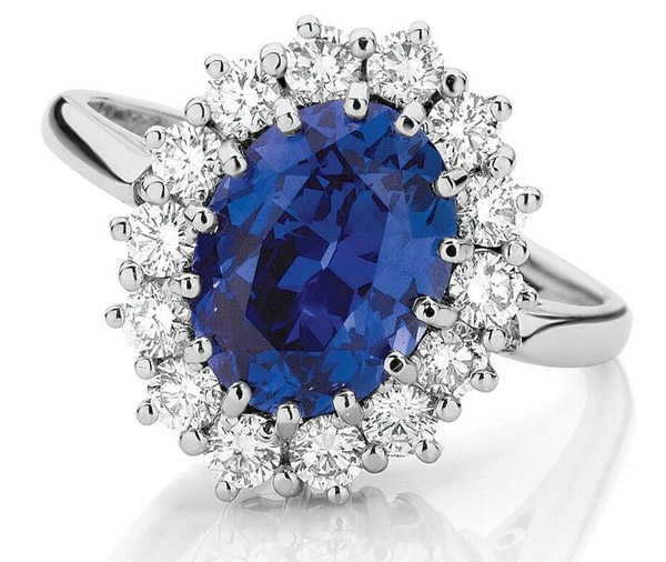 Royal Halo - Sapphire & diamond royal halo cluster