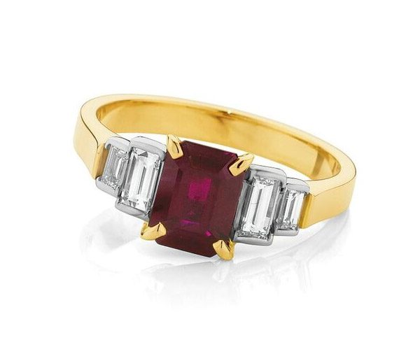 Ruby Gold Ruby & baguette diamond art deco ring