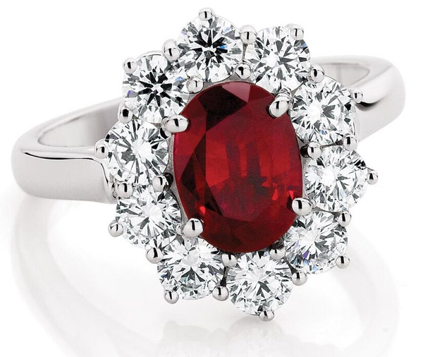 Ruby Rose - Double basket ruby & diamond cluster