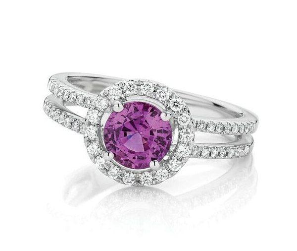 Sapphire Orbit - Pink sapphire & diamond ring