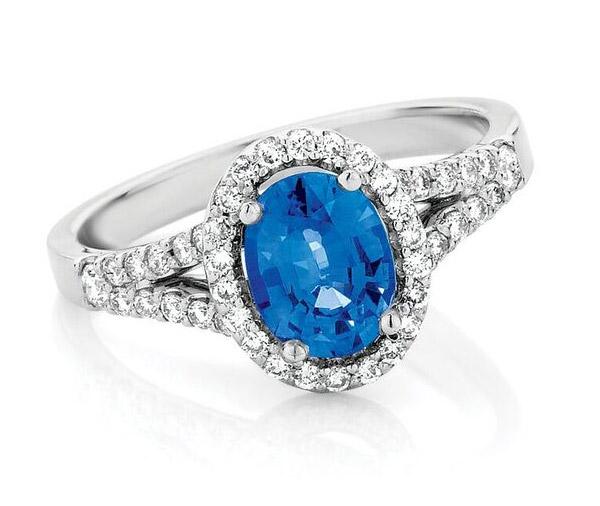 Sapphire Split - Sapphire & diamond split ring